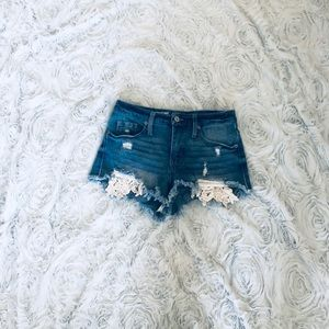 Mossimo High Rise Frayed Jean Shorts